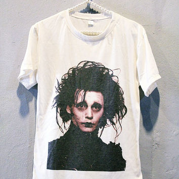 Johnny Depp Shirt Edward Scissorhands T-Shirt Women T Shirts Off White TShirt Size S