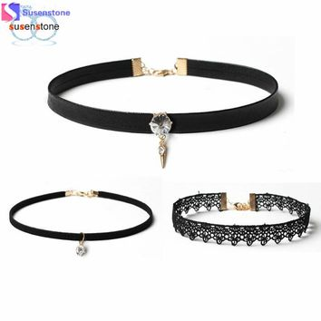 SUSENSTONE 3 Pieces Black Women Choker Necklaces Set Stretch Velvet Classic Gothic Tattoo Lace Chokers Trendy Chain Necklaces