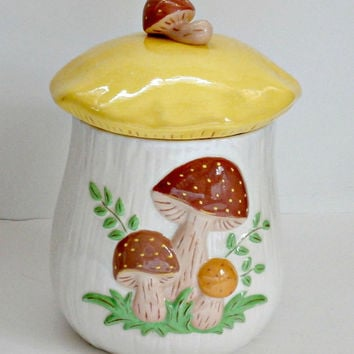 1981 vintage Retro Sears Roebuck and Co style yellow brown cream and green Merry Mushroom LARGE Canister retro Cookie Jar