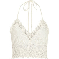 River Island Womens White Pacha crochet halter neck top