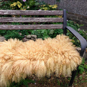 Flokati Large Curly Fluffy Felt Fur Rug Mat  Blanket Fleece Pure Real Wool Hand Felted Beige Fudge by Feltfur RTS