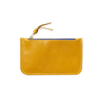 Yellow leather coin purse by Leah Lerner