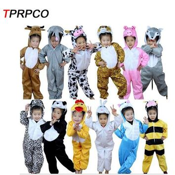 TPRPCO 1Pc Cartoon Children Kids Animal Costume Cosplay Clothing Dinosaur Tiger Elephant Halloween Jumpsuit for Boy Girl NL989