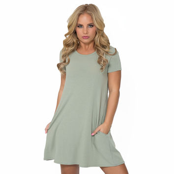 My All In All Jersey Shift Dress In Pastel Olive