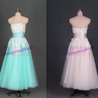 2014 tea length sage tulle and ivory lace wedding gowns,cheap strapless women dress in handmade,champagne wedding dresses hot.