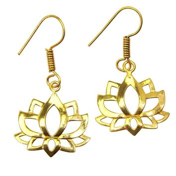 Gold-overlay Lotus Earrings