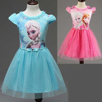 New Summer children's clothing girls dresses elsa princess dress for girl infant kids costume party baby snow Queen elza clothes