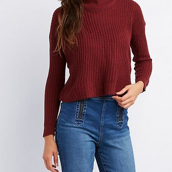 Lace-Up Back Mock Neck Sweater | Charlotte Russe