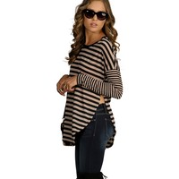 Black Contrast Striped Top