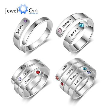 Personalized Mothers Ring Custom Engraved Name Birthstone Ring