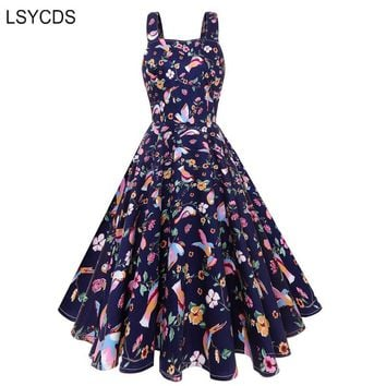 LSYCDS 1950S Vintage Bird Print Dress Women Retro Rockabilly Hepburn Style Navy Blue Sleeveless Summer Midi Dress