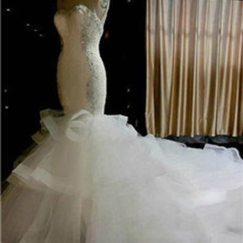 Slim Fit Mermaid Crystal Beading White Ruffled Wedding Dress