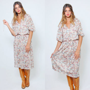 Vintage 70s FLORAL Dress Pastel Blouson Dress Hippie Dress Three Quarter Sleeve Boho Dress