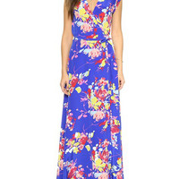 Blue Floral Print V-Neck Sleeveless Wrap Maxi Dress