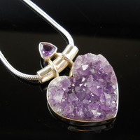 Amethyst Geode & Faceted Sterling Silver Pendant/Necklace