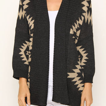 Aztec Pattern Open Knit Cardigan