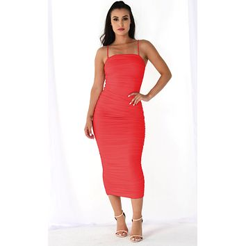 Heart Throb Coral Orange Stretchy Sleeveless Spaghetti Strap Ruched Bodycon Midi Maxi Dress