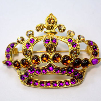 FASHION Monet huge Brooch Pin Crown Rhinestone Vintage Collectible Jewelry