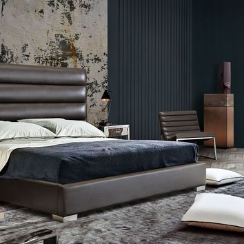 Bardot Channel Tufted Eastern King Bed in Elephant Grey Leatherette