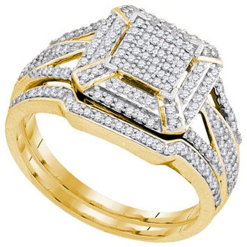 10kt Yellow Gold Womens Diamond Cluster Bridal Wedding Engagement Ring Band Set 1/2 Cttw 93318