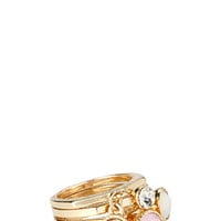 FOREVER 21 Bejeweled Faux Stone Ring Set Gold/Pink