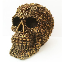 Novelty Resin Screws Skull Head Statue Figurine Skeleton Ornaments Skull Bone Crafts Party Home Bar Table Halloween Decoration