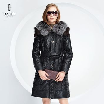 BASIC EDITIONS Winter Women Faux Leather Mink and Fox Fur Hood Slim Fit Leatherette Parka Jacket Quilt Cotton Coat - D13058