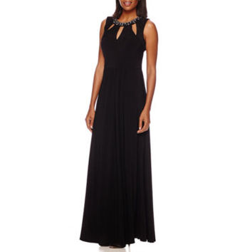 Scarlett Sleeveless Beaded Cut-Out Formal Gown