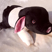 ANGELN SADDLEBACK PIGLET plush black and white Angler Sattelschwein stuffed animal nursery pig breeds belted soft toy handmade farmer decor