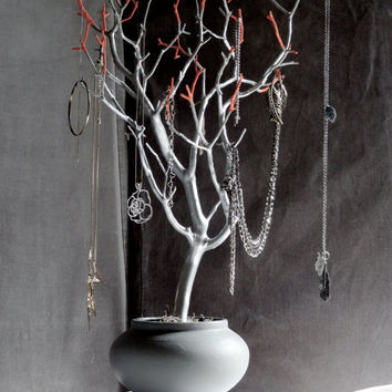 Jewelry Holder Organizer Tree Silver C And Gray 23 Painted Tabletop Necklace