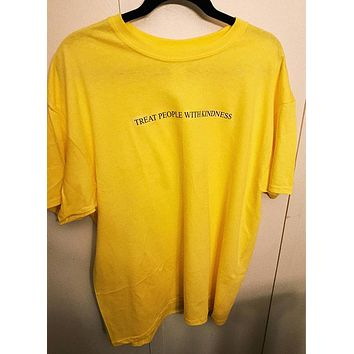 Treat people with kindness T-Shirt Graphic Yellow Tee Aesthetic Casual High Quality Cotton Tops Girl Like Tumblr Crewneck Shirt