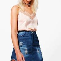 Amelia Asymmetric Fray Hem Denim Skirt | Boohoo