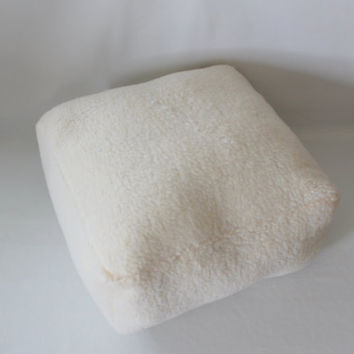 READY TO SHIP - Square Pouf Floor Pillow Faux Sheepskin Lambswool