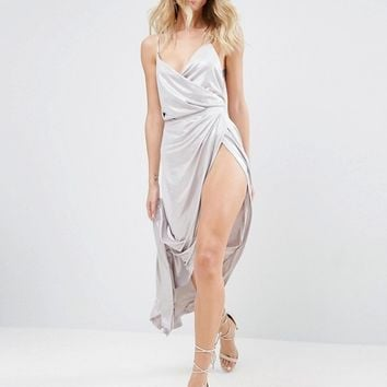 ASOS Slinky Lame Wrap Maxi Dress at asos.com