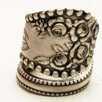 Spoon Ring Vintage Victorian Rose Lancaster Sterling Silver Ring, Handmade in Your Size (3666)