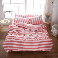 Waterproof Soft Bedspread Comforter Bedding Sets Universal Striped Home Bed Cover Linen Cotton Princess style Duvet Cove Set