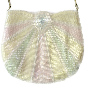 La Regal Beaded Evening Bag, Pastel Beaded Evening Bag, Art Deco Beaded Evening Bag, Beaded Bridal Bag, Beaded Prom Bag, Beaded Evening Bag