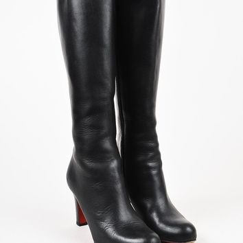 PEAP3D5 Christian Louboutin Black Leather Tall Heeled Boots