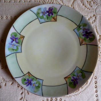 Decorative Fine China Purple Bavarian Plate.  Signed Plate.  Antique Plate.  Wall Plate.