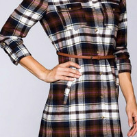 Plaid Tunic with Belt - Navy