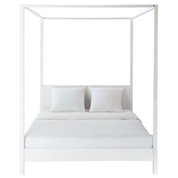 Off-White Pine Four Poster Bed 160 x 200 | Maisons du Monde