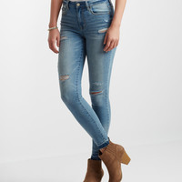 High-Waisted Light Wash Raw Hem Ankle Jegging