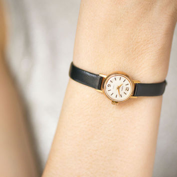 Micro lady's watch gold plated, rare women's wristwatch Seagull, petite lady watch minimalist, unique timepiece, new premium leather strap