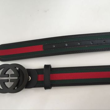 Gucci Black Metal Buckle Belt Men Leather Belt 46/115 With Box Free Shipping
