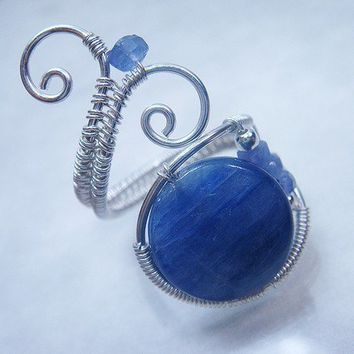 Kyanite and Tanzanite Sterling Silver Adjustable Ring