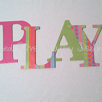 PLAY wooden word wall decal, wall decor, wall word, decorative lettering