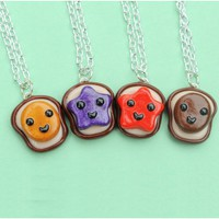 Handmade Peanut Butter, Strawberry Jelly, Grape Jelly & Nutella 4-Way Best Friend Necklaces