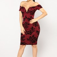 Fresh Bouquet Floral Dress - Burgundy