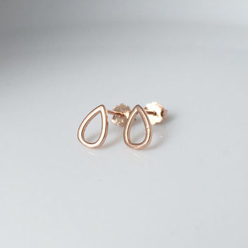 Rose Gold Tear Drop Earrings, Tear drop stud earrings, Open Tear drop studs, Minimalist earrings, Raindrop earrings, geometric earrings