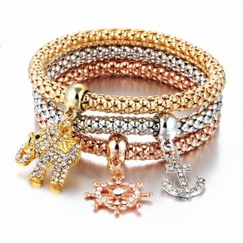 Multilayer Elastic Bracelets With Charms